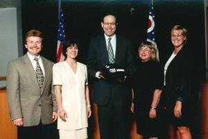 Ohio ACEP protects the Head of State by presenting Gov. Bob Taft with his very own bike helmet